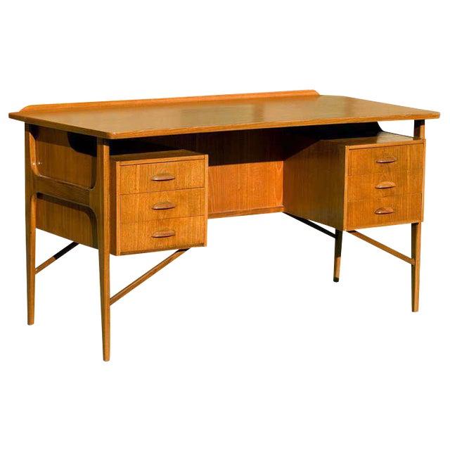 Danish Teak Desk in the Style of Kai Kristiansen For Sale