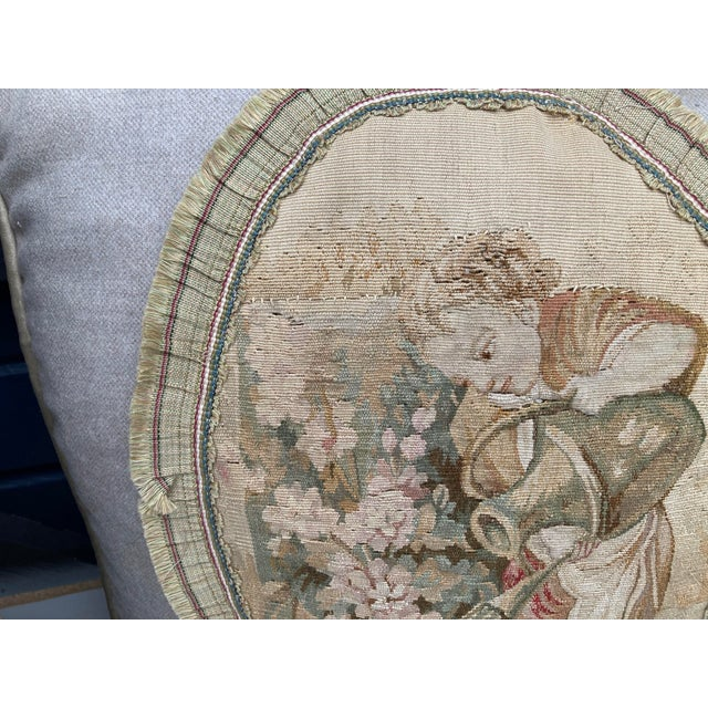 The School of Paris 19th Century Aubusson Tapestry Pillows - a Pair For Sale - Image 3 of 9