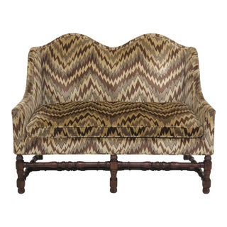 1970s Vintage Henredon Flame Stitched Tudor Style Settee For Sale