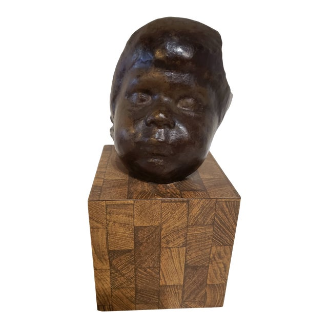 Vintage Childs Face Bronze Sculpture For Sale