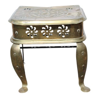 Antique Riveted Brass Footman Table For Sale