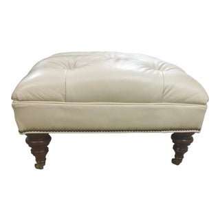 Modern Ethan Allen Leather Tufted Ottoman For Sale