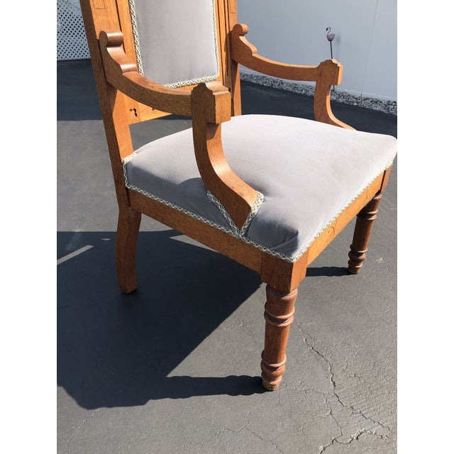 Vintage Gothic Revival Oak High Back Velvet Arm Chair For Sale In New York - Image 6 of 12
