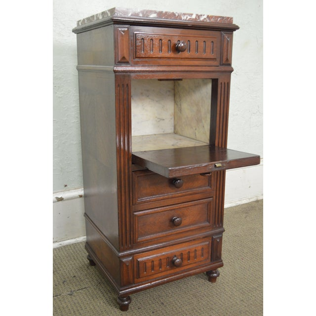 Antique French Renaissance Style Walnut Marble Top Bed Side Chest Pot  Cupboard For Sale In Philadelphia - Antique French Renaissance Style Walnut Marble Top Bed Side Chest