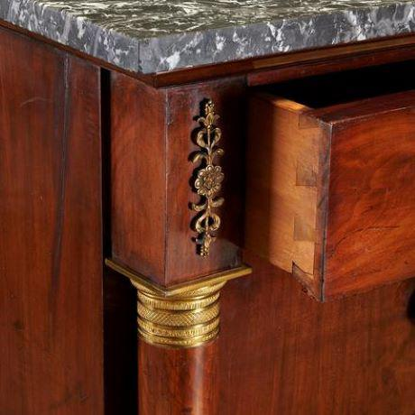 Metal 19th Century French Empire Marble Top Mahogany Commode For Sale - Image 7 of 10