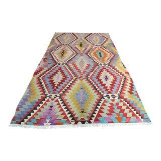 Vintage Turkish Antalya Nomads Kilim Rug-5′9″ × 9′9″ For Sale