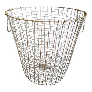 Vintage Wire Woven Basket For Sale
