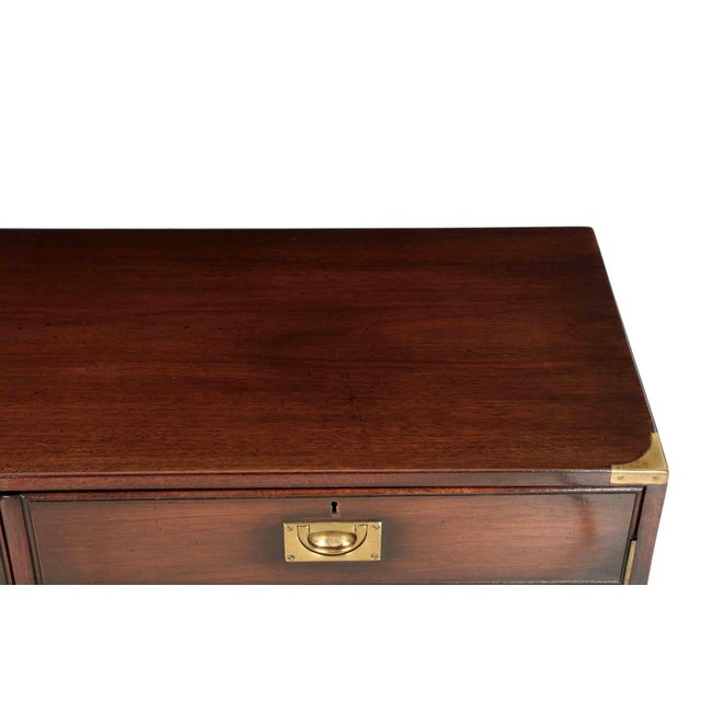 English Campaign Style Brass and Mahogany Side-by-Side Cabinet, 20th Century For Sale - Image 9 of 11