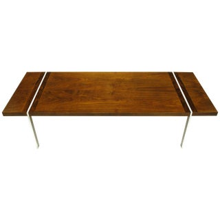 Chrome, Walnut and Rosewood Tripartite Coffee Table by Lane For Sale