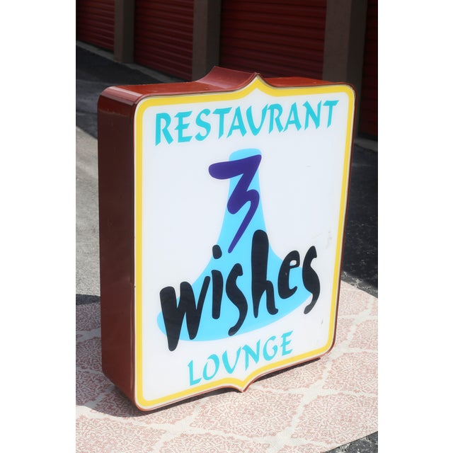 Vintage Illuminated Commercial Sign From 3 Wishes Restaurant and Lounge For Sale - Image 12 of 12