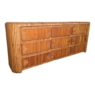 Mid Century Tropical Stacked Rattan Dresser For Sale
