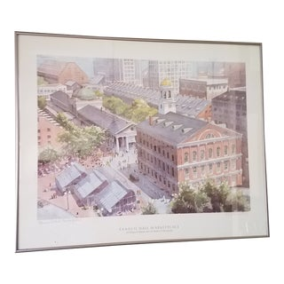 """Robert E. Kennedy """"Faneuil Hall Market Place"""" Pencil Signed Print For Sale"""