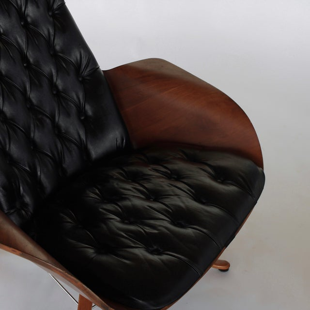Brown Mid Century Modern George Mulhauser for Plycraft Early Mr Chair Lounge Chair & Ottoman For Sale - Image 8 of 11