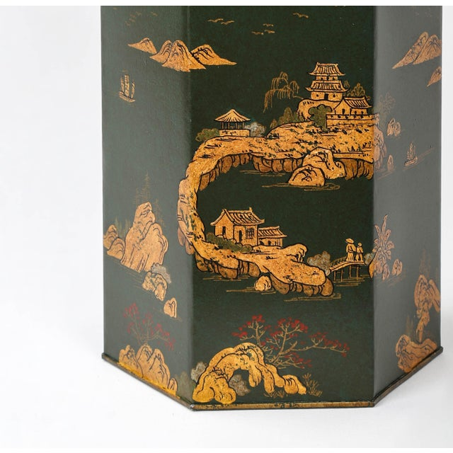 Metal Vintage English Export Hexagonal Tea Caddy Hand-Painted Chinoiserie Landscape Lamp For Sale - Image 7 of 9