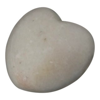 Vintage Italian Large Alabaster Hand Carved White Heart Shape Paper Weight For Sale