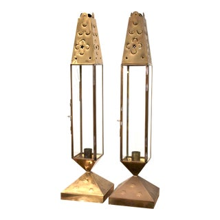 Punched Brass Geometric Lantern Style Candle Holders, a Pair For Sale