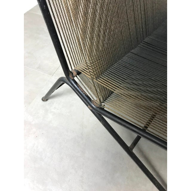 Brown Allan Gould String Lounge Chair & Ottoman 1952 For Sale - Image 8 of 11