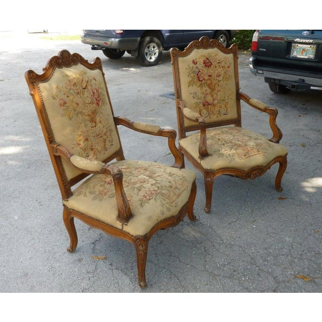 20th Century French Petit Point Needlepoint Seat Bergere Chairs - a Pair For Sale - Image 4 of 13