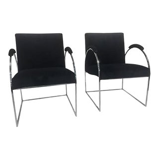 Fabulous Pair of Chrome Chairs by Milo Baughman in Rich Velvet Fabric For Sale