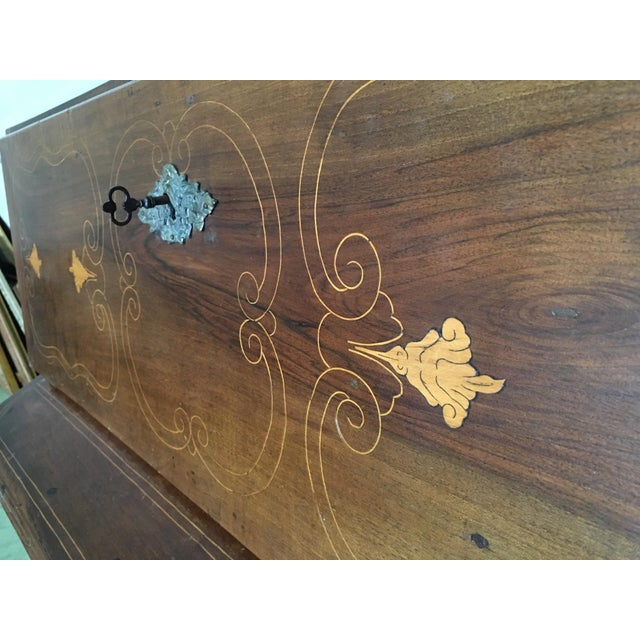Maple 18th Century Spanish Walnut Marquetry, Chest of Drawers With Flap For Sale - Image 7 of 12