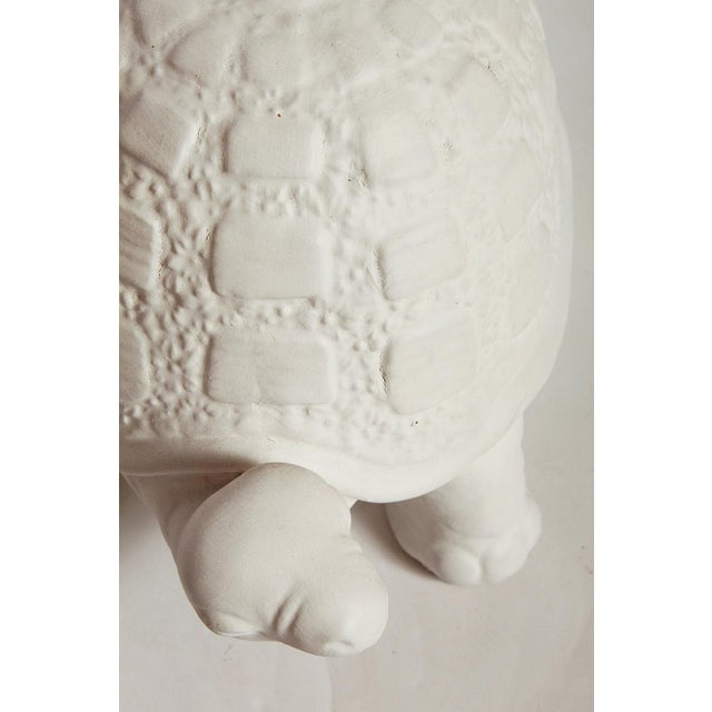 Off-white Modern White Plaster Turtle Table Lamp For Sale - Image 8 of 11