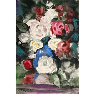 Erik Freyman, Red and White Flowers, Watercolor With Pastel For Sale