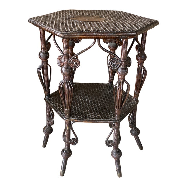 Antique Victorian Heywood Wakefield Wicker Fiddlehead Table For Sale