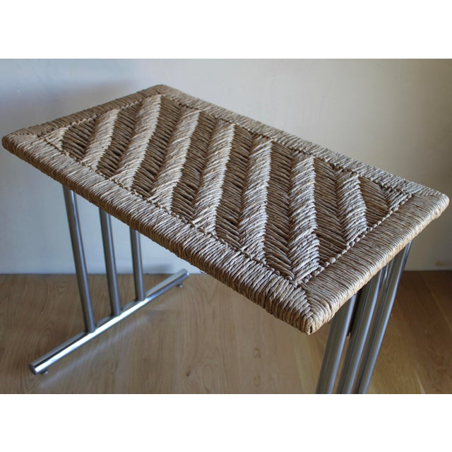 Silver Mid Century Modern Chromcraft Woven Rush Rattan & Chrome Dining Table For Sale - Image 8 of 10