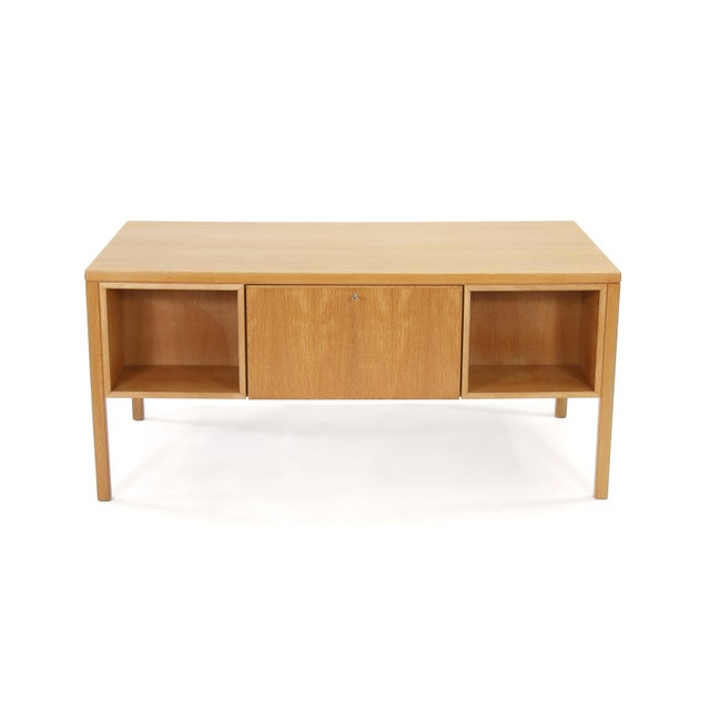 1960s Danish Modern Executive Desk in Oak by Gunni Omann for Omann Jun For Sale - Image 12 of 13