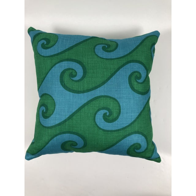 Vintage Blue and Green Sea Scroll Pattern Pillows Hand Printed by Elenhank - a Pair For Sale In Boston - Image 6 of 12