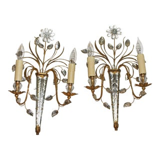 Mid Century French Glass & Gilt Metal Icicle Sconces - a Pair For Sale