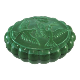 Emerald Malachite Glass Bird Box For Sale