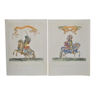The Duke of Orleans & The Camp Commander Hand Colored Engravings Early 20th C. - a Pair