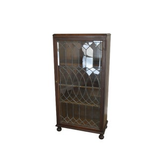 Antique Oak Arts & Crafts Style Leaded Glass Door Bookcase For Sale