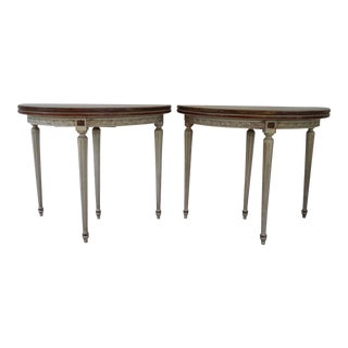 Louis XVI Style Walnut Veneer Top Demilune Card Tables - a Pair For Sale
