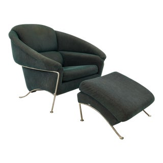 Milo Baughman for Thayer Coggin Mid Century Modern Lounge Chair and Ottoman For Sale