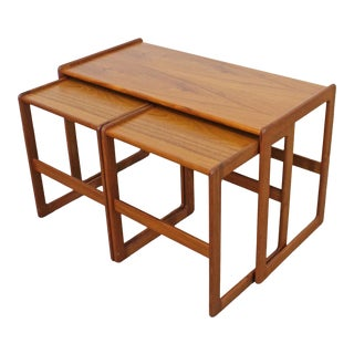 Set of 3 Mid-Century Danish Modern Arne Hovmand-Olsen Mogens Kold Teak Nesting Tables For Sale