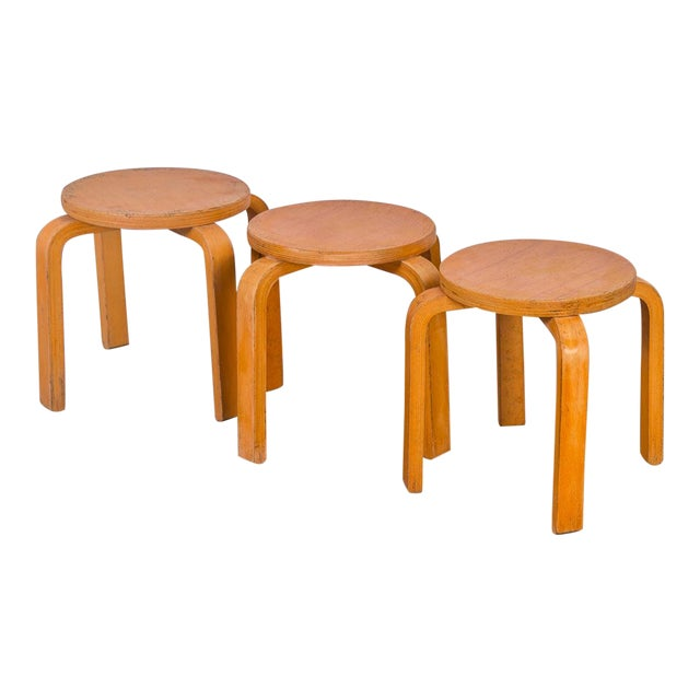 1960s Alvar Aalto Style Small Stacking Stools - Set of 3 For Sale