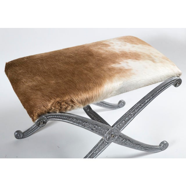20th Century Neoclassic X-Frame Upholstered Benches - a Pair For Sale - Image 9 of 12