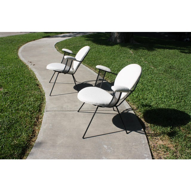 Mid-Century Modern Mathieu Matégot Style Perforated Iron and Bouclé Upholstered Armchairs For Sale In Dallas - Image 6 of 13