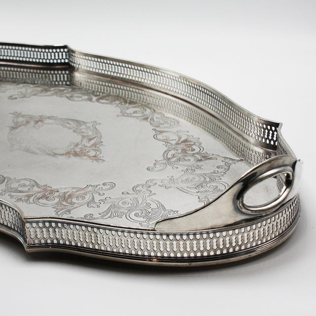 Metal Silver Plated Pierced Tray, C. 1940 For Sale - Image 7 of 8