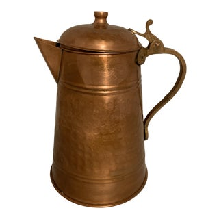 Late 20th Century Hammered Copper Coffee Pot With Brass Handle For Sale