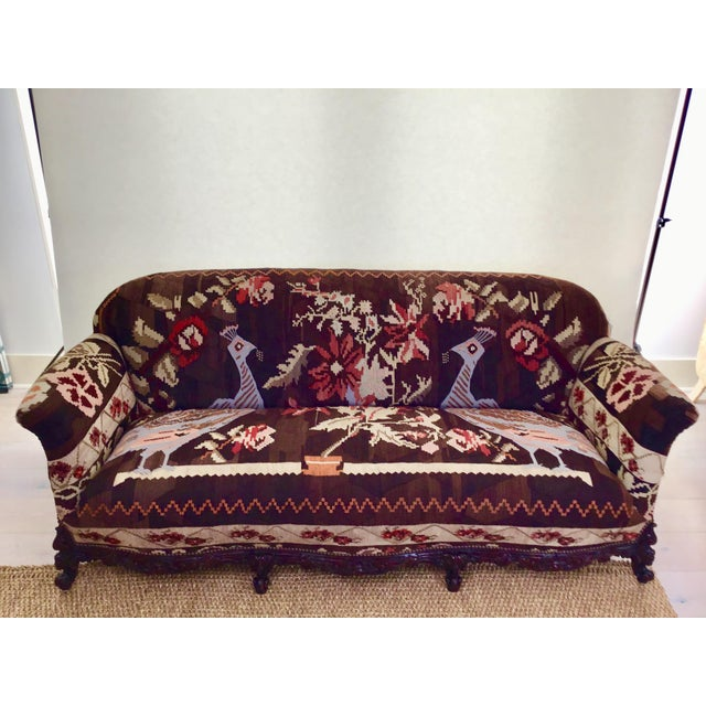Antique French Serpentine Sofa Upholstered in Antique Karabagh Peacock Kilms For Sale - Image 13 of 13