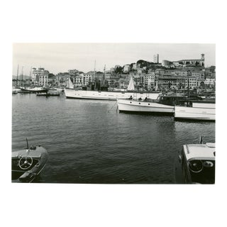 Vintage 1950's Harbor of Cannes France With Sailboats & Yachts Photograph For Sale