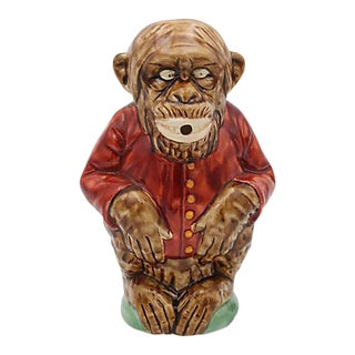 French Majolica Figural Monkey Pitcher