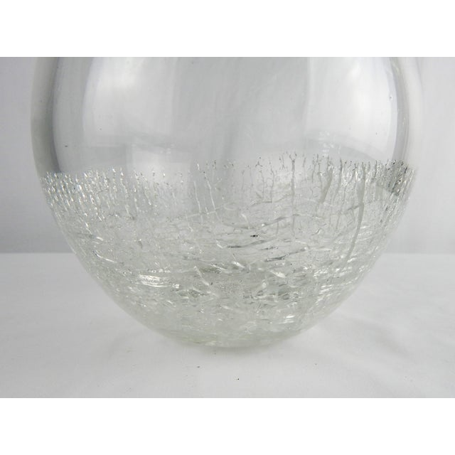 1980s Crackle Art Glass Vase For Sale - Image 5 of 7