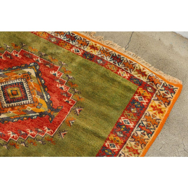 Vintage Moroccan Tribal Green and Orange Rug For Sale - Image 4 of 9
