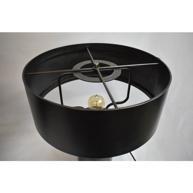 French Black Berlin Table Lamp With Shade For Sale - Image 3 of 6