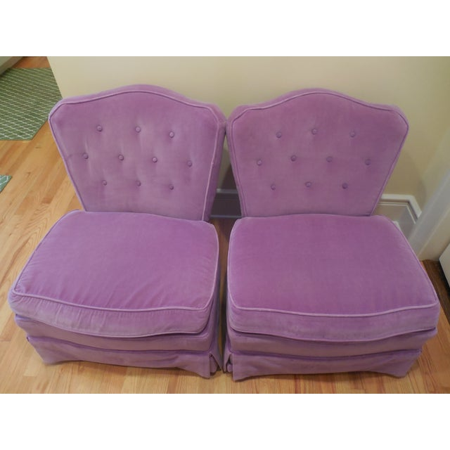 Lilac Velvet Vintage Chairs - A Pair For Sale - Image 4 of 8