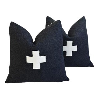 "21"" Custom Tailored Charcoal Appliqué Cross Wool Feather & Down Pillows - a Pair"